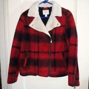 Brand new imitation fur plaid jacket
